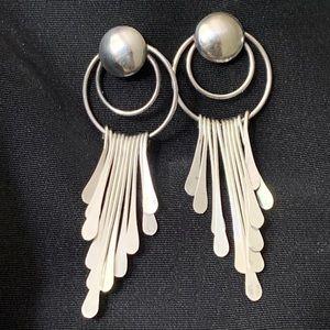 Vintage Long Sterling Paddle Drop Stud Earrings